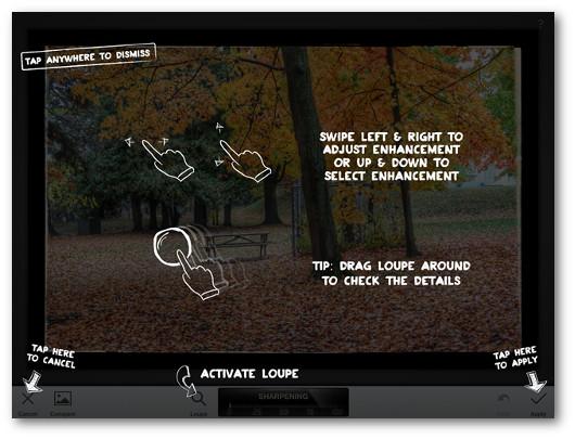 Schermata che mostra l'utilizzo dell'applicazione Snapseed