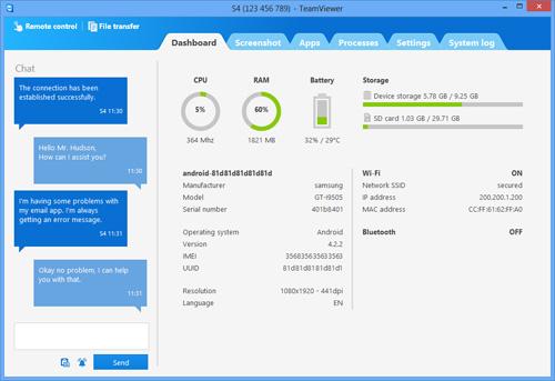 Schermata dell'applicazione TeamViewer QuickSupport