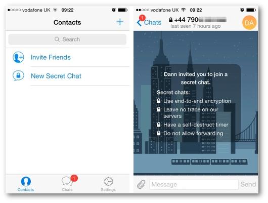 Immagini dell'applicazioni Telegram