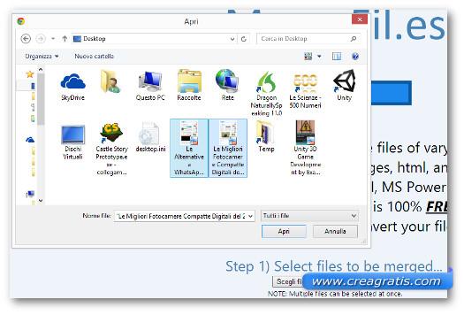 Schermata della selezione dei file da unire