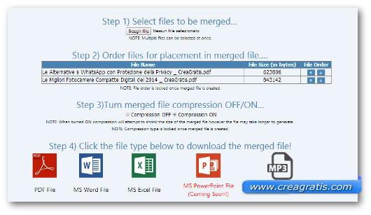 Schermata del sito per ordinare i file da unire