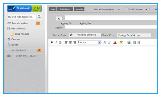Schermata del servizio Virgilio Mail