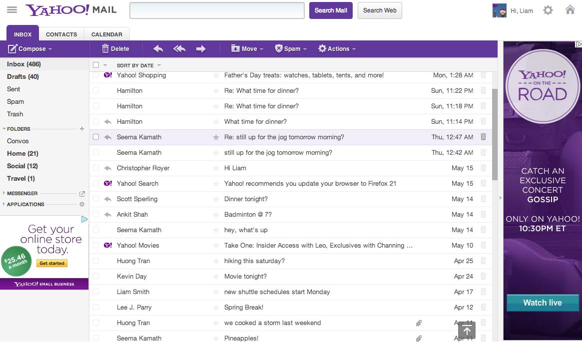 Schermata del servizio Yahoo