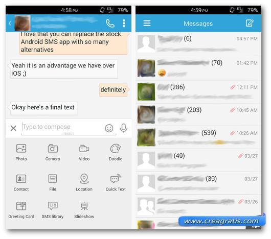 Schermate dell'applicazione GO SMS Pro per Android
