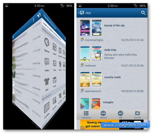 Schermate dell'applicazione Handcent SMS per Android