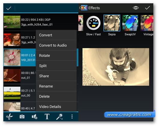 Schermate dell'applicazione AndroVid Video Editor per Android