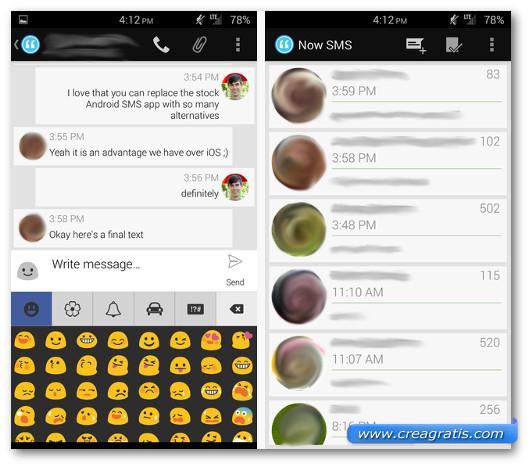 Schermate dell'applicazione Now SMS per Android