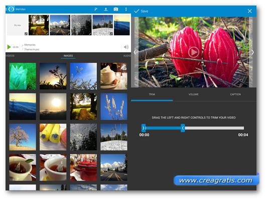 Schermate dell'applicazione WeVideo per Android