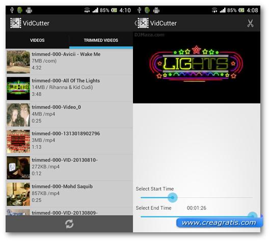 Schermate dell'applicazione VidCutter per Android