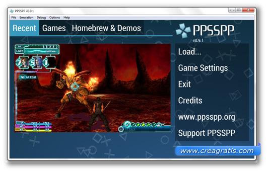 Immagine dell'emulatore PPSSPP