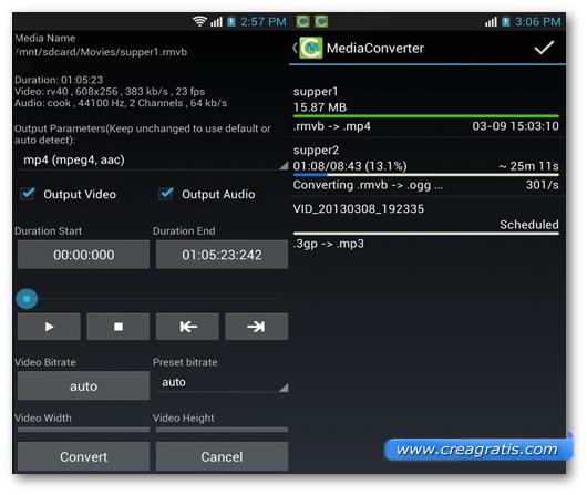 Schermate dell'applicazione Media Converter per Android