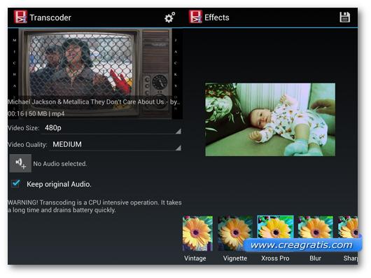 Schermate dell'applicazione VidTrim per Android