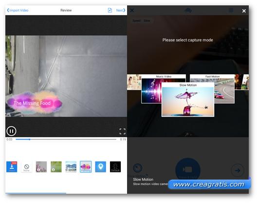 Schermate dell'applicazione VivaVideo per Android