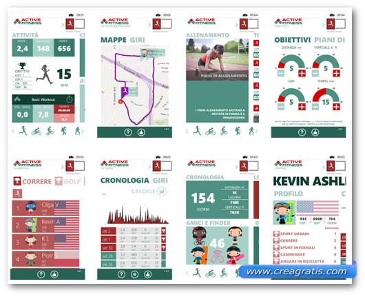 Schermate dell'applicazione Active Fitness per Windows Phone