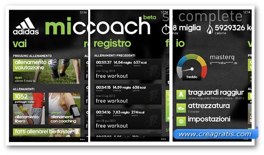 Schermate dell'applicazione Adidas miCoach per Windows Phone