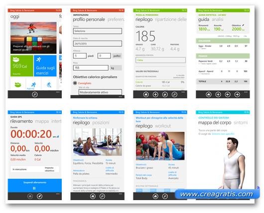 Schermate dell'applicazione Bing Salute e benessere per Windows Phone
