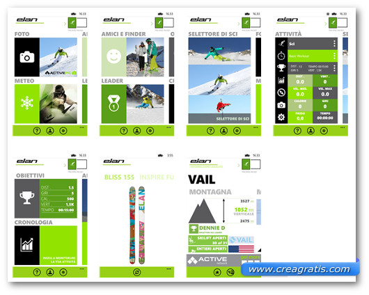 Schermate dell'applicazione Elan Skis per Windows Phone