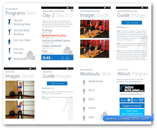 Schermate dell'applicazione Gym PocketGuide per Windows Phone