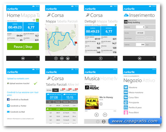 Schermate dell'applicazione Runtastic per Windows Phone