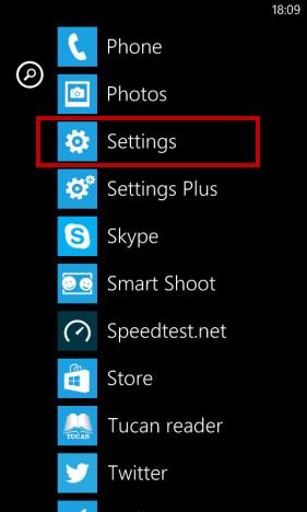 Pulsante per accedere alle impostazioni su Windows Phone