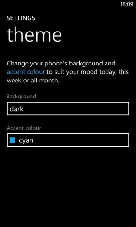 Schermata di Windows Phone per cambiare il colore dello sfondo e delle piastrelle