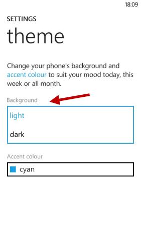 Schermata di Windows Phone per cambiare il colore dello sfondo