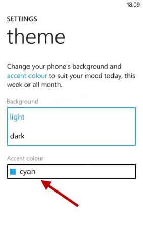 Pulsante di Windows Phone per cambiare il colore delle piastrelle