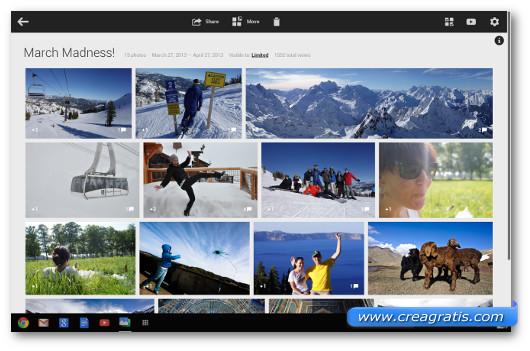 Schermata di Google+ con le foto trasferite da Android o iPhone
