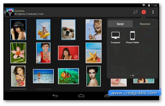 Schermata dell'applicazione PhotoSync