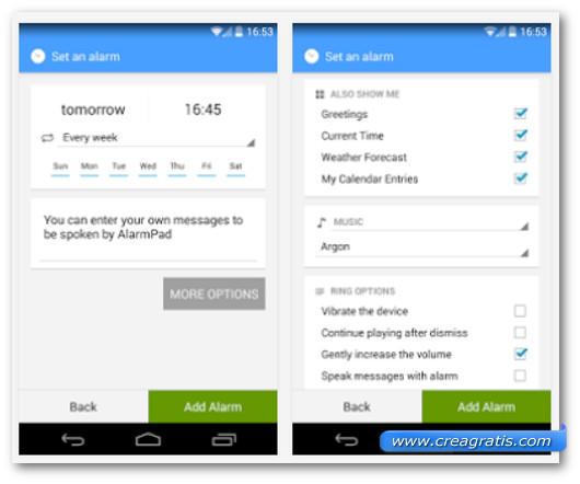 Schermate dell'applicazione Alarmpad per Android