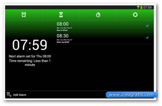Schermata dell'applicazione Alarm Clock Xtreme per Android