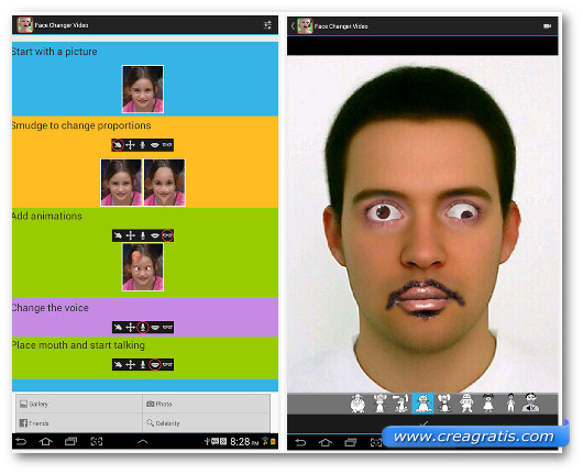 Schermate dell'applicazione Face Changer Video per Android