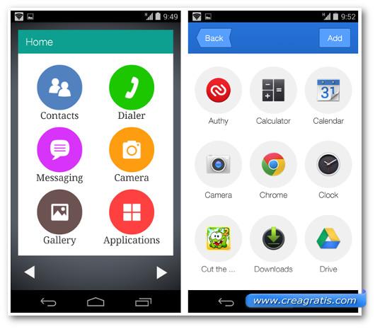 Schermate di Android con il Wiser Launcher