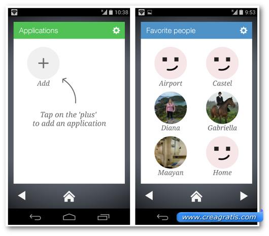 Schermate delle applicazioni e dei contatti preferiti con Wiser Launcher
