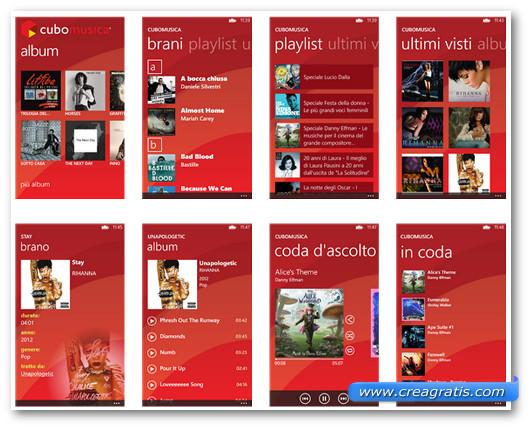 Schermate dell'applicazione Cubomusica per Windows Phone