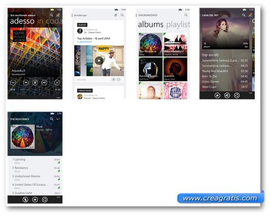 Schermate dell'applicazione Deezer per Windows Phone