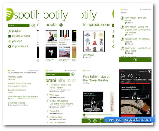 Schermate dell'applicazione Spotify per Windows Phone