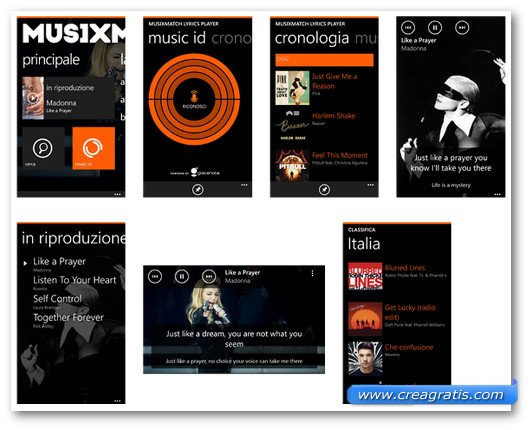 Schermate dell'applicazione musiXmatch lyrics player per Windows Phone