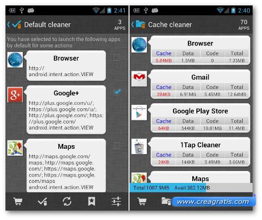 Schermate dell'applicazione 1Tap Cleaner per Android