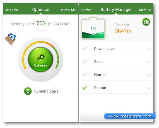 Schermate dell'applicazione Android Booster per Android
