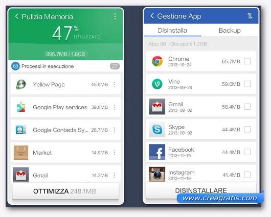 Schermate dell'applicazione Clean Master per Android