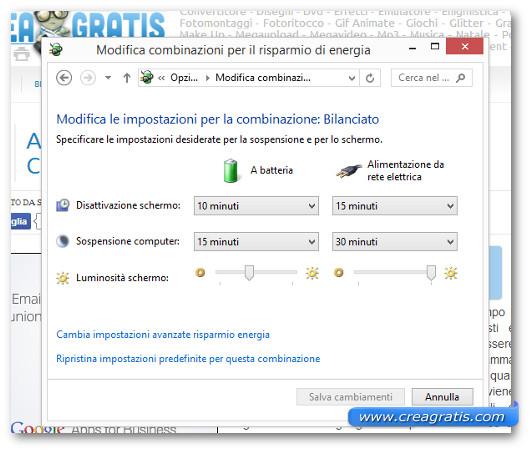 Schermata di Windows 8 per modificare il tempo di sospensione