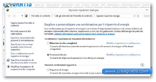 Schermata di Windows 8 delle impostazioni sul risparmio energetico