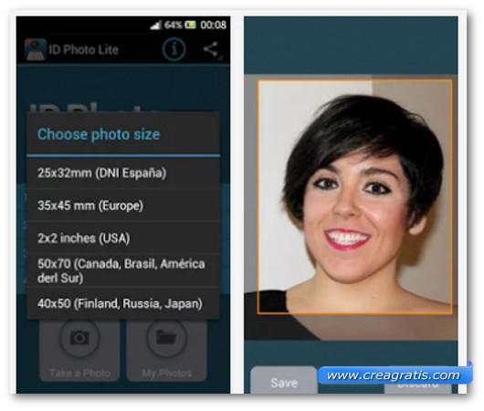 Schermate dell'applicazione ID Photo Lite per Android