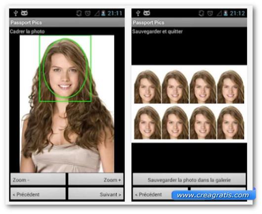 Schermate dell'applicazione PassportPics per Android
