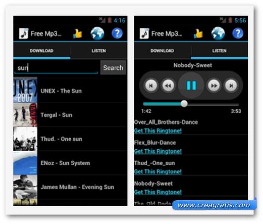 Schermate dell'applicazione Free MP3 Downloads per Android