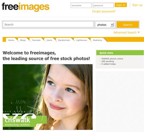 Immagine del sito FreeImages