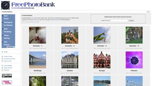 Immagine del sito FreePhotoBank