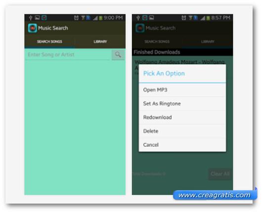 Schermate dell'applicazione Music Search per Android