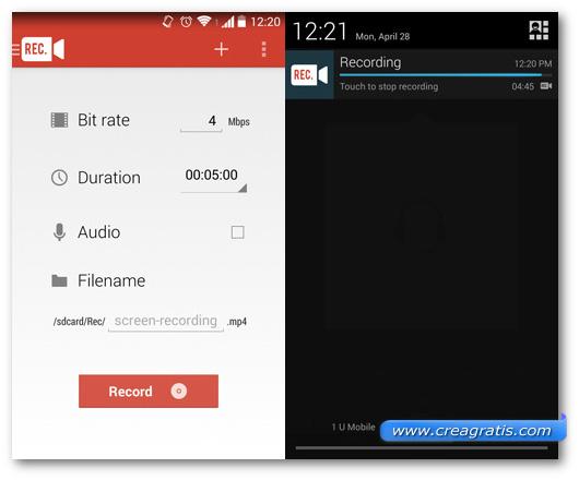 Schermate dell'applicazione REC. per Android